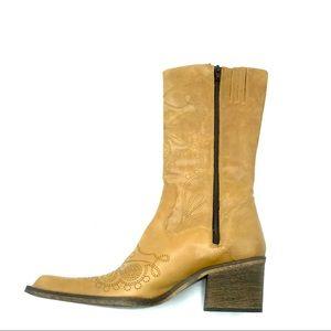 Aldo Camel Color Leather Cowboy Boot, Size 9, EUC
